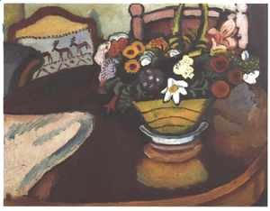 August Macke - Still Life with Stag Cushion and Flowers