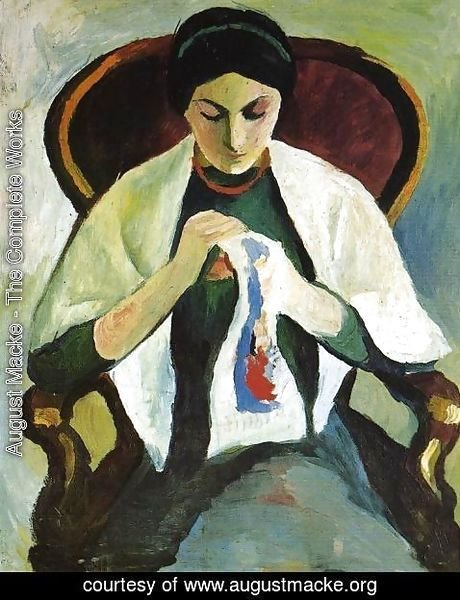 August Macke - Woman Embroidering in an Armchair: Portrait of the Artist's Wife