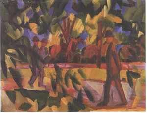 August Macke - Riders and Strollers in the Avenue
