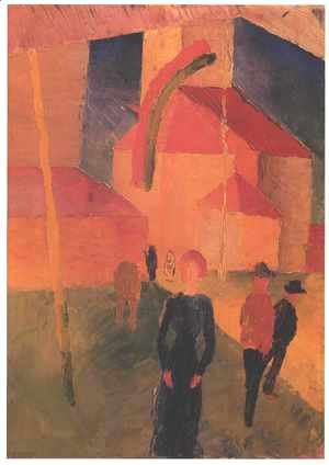 August Macke - Church with Flags