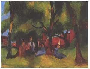 August Macke - Children under Trees in Sun