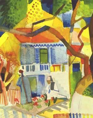 August Macke - Courtyard of a Villa at St. Germain