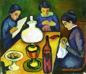 August Macke - Three Women at the Table by the Lamp