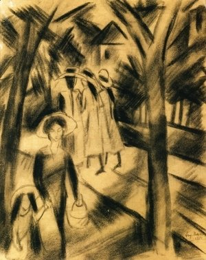 August Macke - Woman with Child and Girls on a Road