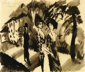August Macke - Two Women and an Man on an Avenue