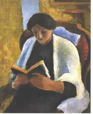 August Macke - Woman Reading in Red Armchair (Lesende Frau im roten Sessel)