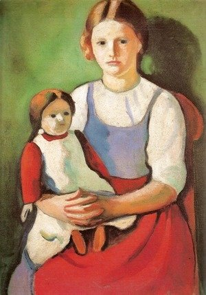 August Macke - Blond Girl with Doll (Blondes Madchen mit Puppe)