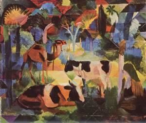 August Macke - Landscape with cows and camels