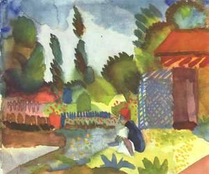 August Macke - Tunis landscape with a sedentary Arabs