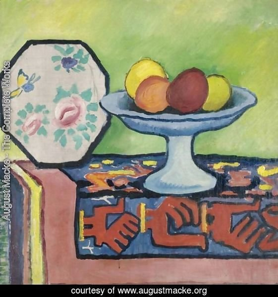 Still life with bowl of apples and Japanese fan