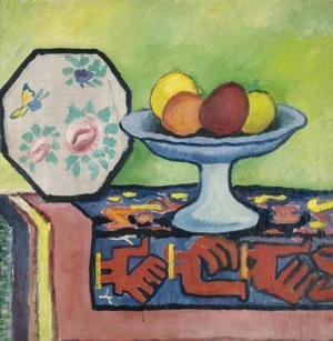 August Macke - Still life with bowl of apples and Japanese fan