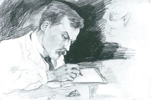 August Macke - Portrait of Dr. Ludwig Deubner, writing