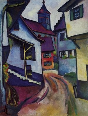 August Macke - Street with church in Kandern