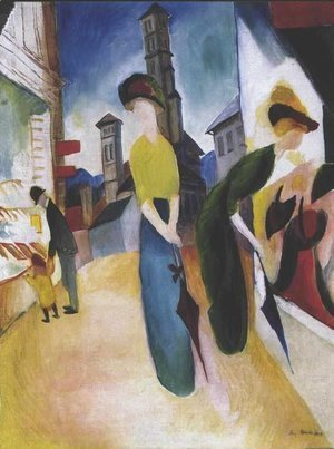 August Macke - Two women in front of a hat shop