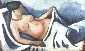 August Macke - Reclining female nude