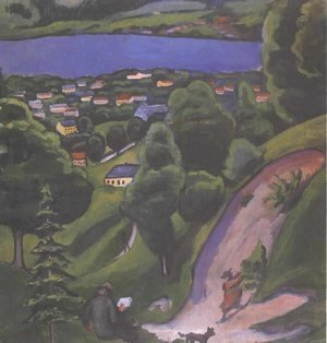 August Macke - Landscape on the Teggernsee with a reading man