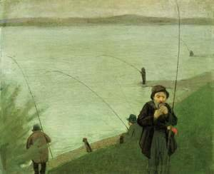 August Macke - Fishing At The Rhine