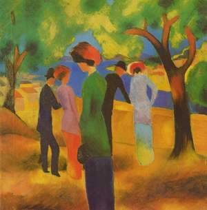 August Macke - A Woman In Green Jacket