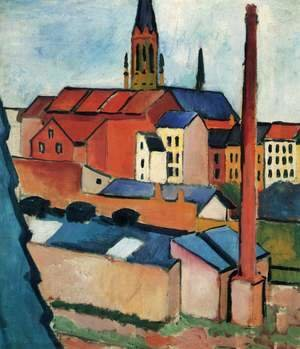 August Macke - Houses With A Chimney