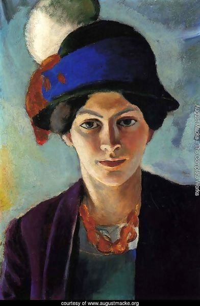 Portrait of the Artist's wife Elisabeth with a Hat (Frau des Kunstlers mit Hut)  1909