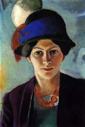 August Macke - Portrait of the Artist's wife Elisabeth with a Hat (Frau des Kunstlers mit Hut)  1909