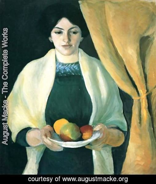 August Macke - Portrait with Apples- Wife of the Artist  1909