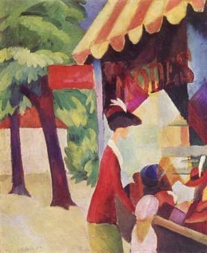 August Macke - A Woman With Red Jacket And Child Before The Hat Store
