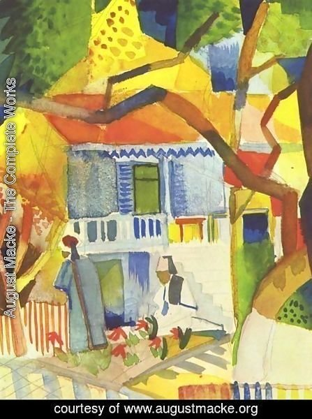 August Macke - Patio Of The Country House In St  Germain