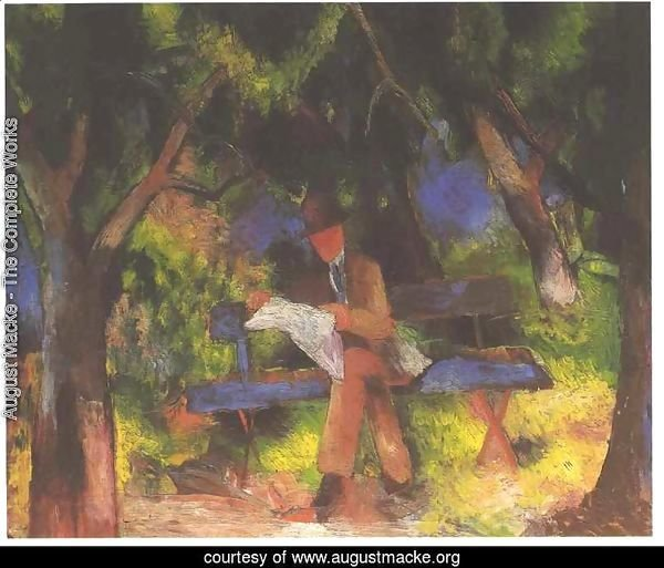 Man Reading in a Park (Lesender Mann im Park)  1914