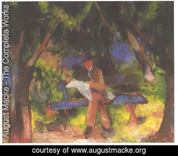 August Macke - Man Reading in a Park (Lesender Mann im Park)  1914