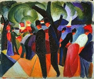 August Macke - A Stroll on the Bridge (Spaziergang auf der Brücke)  1913