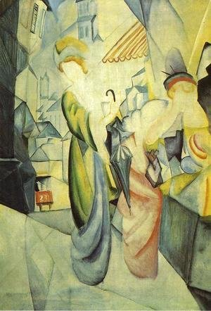 August Macke - Bright Women in front of the Hat Shop (Helle Frauen vor dem Hutladen)  1913