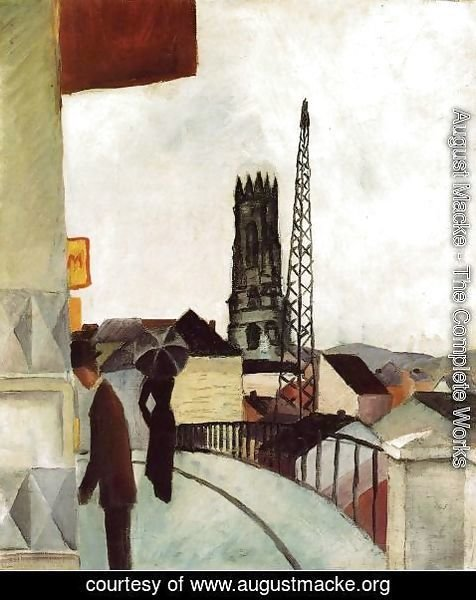 August Macke - Cathedral at Freiburg, Switzerland (Kathedrale zu Freiburg in der Schweiz)  1914