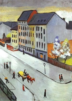 August Macke - Our Street in Gray (Unsere Strasse in Grau)  1911