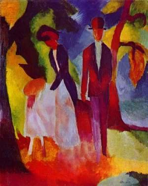 August Macke - People by a Blue Lake (Leute am Blauen See)  1913