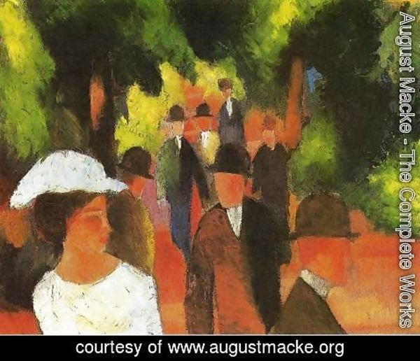 August Macke - Promenade with Half-Length of Girl in White  1914
